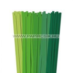 Zöld árnyalatok, 10mm-es quilling papírcsík (5x20, 49cm)