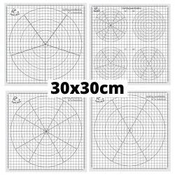Papierový šablón na quilling - delené po 30 stupňoch (1 ks, 30x30 cm)