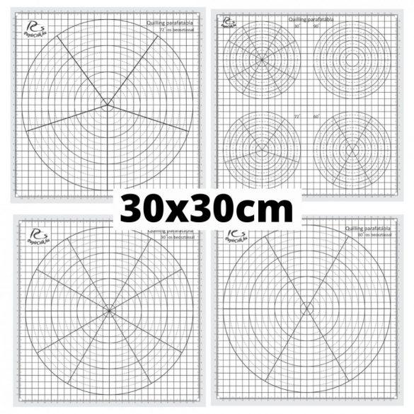 Quilling sablon papír - 30, 60, 72 és vegyes fokos beosztással (4db, 30x30cm)