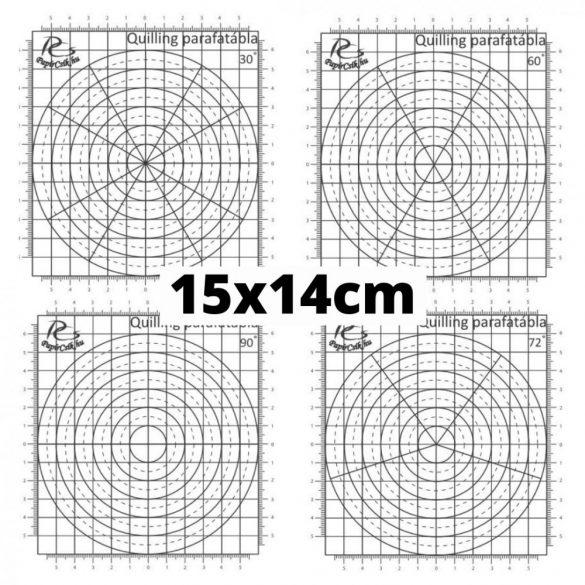 Quilling sablon papír - 30, 60, 72 és 90 fokos beosztással (4db, 15x14cm)
